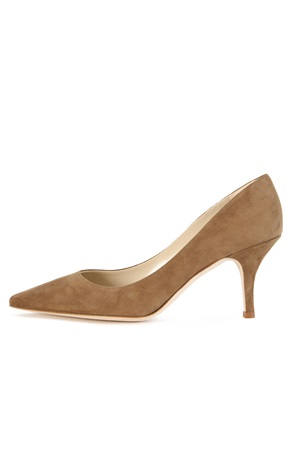 KHAKI SUEDE PUMP 75MM