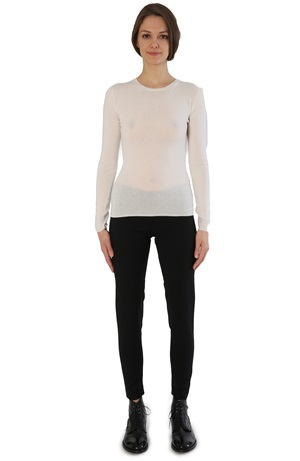 ROUND NECK CASHMERE TEE ICE WHITE