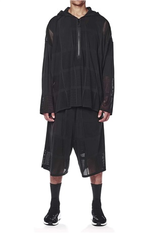 PATCHWORK MESH HOODED SS TOP