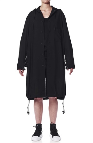 TENCEL COTTON HOODED LONG SHIRT