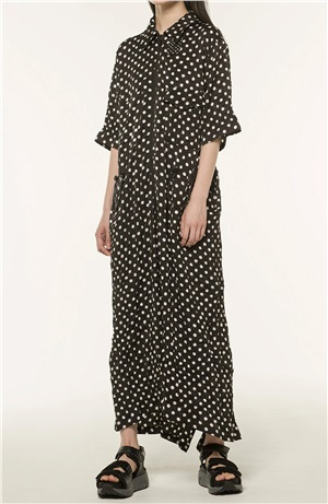*NEW*POLYESTER POLKA DOT SATIN DRESS
