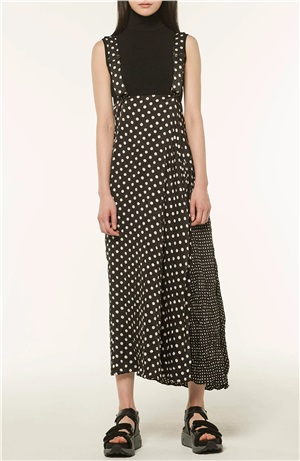 *NEW*Y'S POLYESTER POLKA DOT SATIN WRINKLED SKIRT